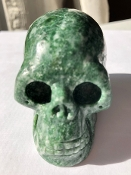 Green Jasper with Quartz Skull